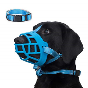 Dog Muzzle, Soft Silicone Basket Muzzle for Dogs, Allows Panting and Drinking, 2