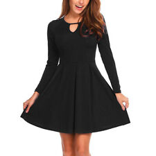 Women's Long Sleeve Keyhole A-Line Swing Fit and Flare Midi Dress with Pocket