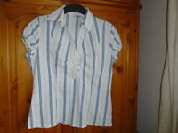 White blue and green stripe semi fitted shirt, E-VIE, size 12, great for work