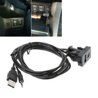 Car 3.5mm AUX USB Extension Cable Panel Headphone Male Jack Flush Mount Adapter