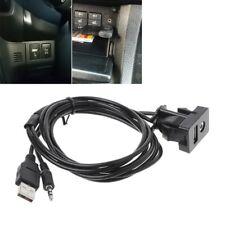 Car 3.5mm AUX USB Extension Cable Panel Headphone Male Jack Flush Mount Adapter