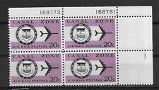 CANAL ZONE , US , 1965 , AIRMAIL ,   20c PLATE BLOCK OF 4 STAMPS , PERF , MNH