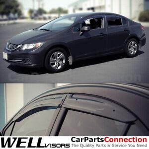 WellVisors Window Visors 12-15 For Honda Civic Sedan Sun Visors Deflectors