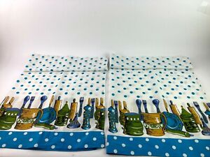 2 Vintage Blue Green & Gold Kitchen Curtain Panels Utensils Fish Polka Dots 60's