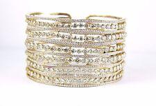 Fine Curvy Cluster & Pave Diamond Bangle Cuff Bracelet 14K Yellow Gold 25.32Ct
