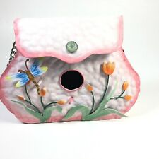 Pink Metal Birdhouse Purse W/Chain Handle Flower Dragonfly Appliqué Shabby Chic
