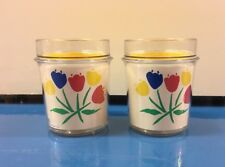 Lot of TWO Thermo Serve Tulip Cups Flower Faces 1984 Multicolor Thermo-Serv, Inc
