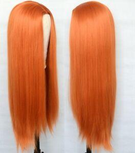 AU 24inch Cosplay wig  Full Head Synthetic hair Daily use Orange Fashion