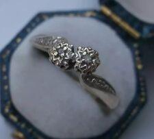 Women's 9ct oro anello di diamanti due-pietra Torsione Impostazione Taglia M 1/2 W1.6g timbrato
