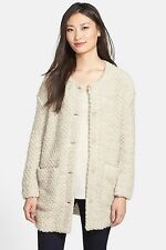 NWT Eileen Fisher Chevron Wool Boucle Long Sweater Coat Jacket M - $498