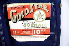Vtg 40s 50s Gold Star Sanforized Denim Overalls Nos Dead Stock Button Fly 34/30