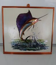 Vintage Flying Sailfish Marlin Foil Embossed Pressed Paperboard Plak Print