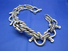 """Sterling Silver Shackle Link Seaman Fisherman Sailor Rope Knot Bracelet 9.5"""""""