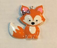"GIRL FOX WITH HAIRBOW 2"" Enamel Charm Pendant Backpack, Favors, Jewelry, Crafts"