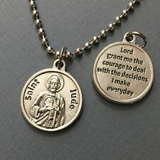 """Saint Jude Patron Impossible Causes Difficulties Medal Pendant Silver Tone 3/4"""""""