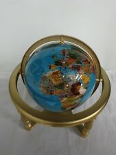 Gemstone Mineral Globe with Compass in Base Decorative Table Top Item