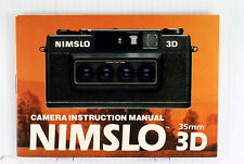 Original Nimslo Stereo Camera Manual -  20 pages