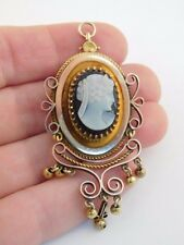 VICTORIAN ETRUSCAN 14K GOLD JET BLACK PORTRAIT CAMEO PENDANT BROOCH PIN ORNATE