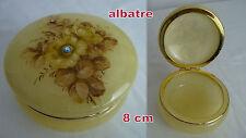 petit COFFRET en ALBATRE  impeccable-8 cm-couvercle a charnière