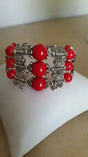 ARTISAN TIBETAN SILVER RED CORAL BUTTERFLY CUFF BRACELET MADE IN INDONESIA