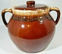 Vintage Stoneware Pottery Bean Pot w Lid Brown Drip Pattern Two Handled USA 2 QT