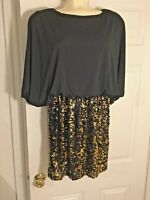 Snap Dress Mini Womens Black And Gold Sequins  Size Medium