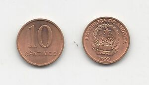 Angola, 10 Centimos 1999 KM 93 UNC copper plated steel