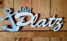 Schriftzug 3D Ankerplatz Holz -  Deko Maritim Meer Hafen Anker handgefertigt