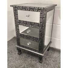 Blackened Silver Metal Embossed Mirrored 3 Drawer Bedside Cabinet Table