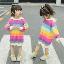 Kids Hoodie Lined Fleece Girls Sweatshirts Dress Rainbow Striped Pullover Cute