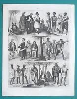 RACES of Mankind Turk Persian Negro Papuas Hottentot etc- 1844 Superb Print