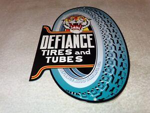 "VINTAGE ""DEFIANCE TIRES AND TUBES W/ TIGER"" DIECUT 12"" METAL GASOLINE & OIL SIGN"
