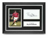 Bryan Robson Signed A4 Photo Framed Display Man Utd Memorabilia Autograph COA
