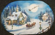 """OVAL BRAIDED KITCHEN RUG (20"""" x 30"""") WINTER VILLAGE, NIGHT BEFORE CHRISTMAS"""
