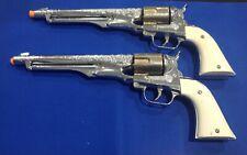 Vintage matched SET OF 2 Hubley Colt 45 Gold Cylinder Toy Cap Guns & bullets