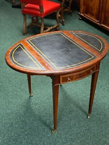 Mahogany Pembroke Table Drop Leaves Black Trimmed Leather Top & One Drawer