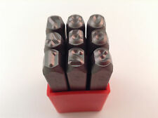 """9pc 1/4"""" 6MM Number Stamp Punch Set Hardened Steel, Metal Wood Leather"""