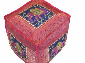 """Pink Elephant Pouf Footstool Cover Trendy Brocade Large Ottoman Slipcover 18"""""""