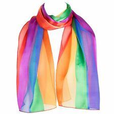 HatToSocks Chiffon Satin Scarf with Rainbow Stripes