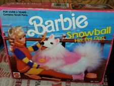 1990 Barbie Snowball White Fluffy Pet Collie Mattel Toy Her Pet Dog 7272 Posable