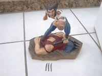 """10"""" Logan Wolverine Statue Marvel Creative License Sculpture - claws broken"""