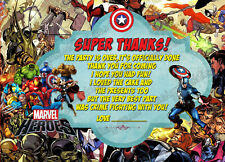 Birthday Party Thank you cards Super hero, Marvel hero,Super Marve  X 8 CARDS