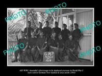 OLD POSTCARD SIZE PHOTO OF WWI AUSTRALIAN ANZAC NEW GUINEA ASSESTS GROUP c1914