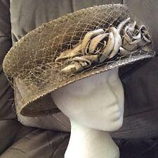 "Stunning Gold Philip Treacy Wedding Hat Unusual Races Mother Of Bride 22"" Head"