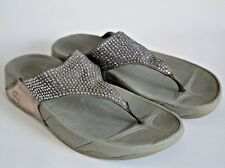 FitFlop Gold Leather Panel Beaded Grey Thong Sandals - UK 7 / US 9 / EUR 41