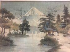 Antique Japanese Litho Textile Art Pagoda & Mount Fuji Old Frame