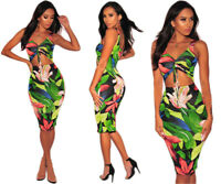 Women Sleeveless Floral Print Bodycon Clubwear Cocktail Party Evening Dress