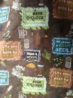 It's Beer O'Clock Somewhere Fabric Craft Bottles Pint Multicolor Rare Flannel