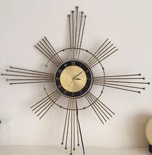 "28""x28"" MCM Metal Starburst LUX Wall Clock Mid Century Modern USA Works"