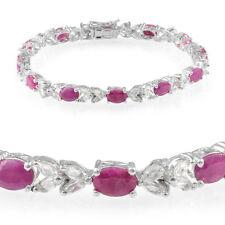 Ruby (Ovl),White Topaz Bracelet, Platinum Over Sterling Silver (7.5 in) 19.75Cts